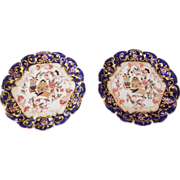 Pair Antique Copeland Spode Imari Footed Compotes