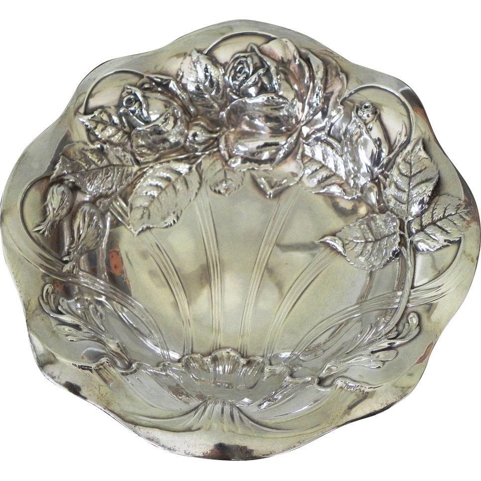 Vintage Wallace Sterling Silver Art Nouveau Bon Bon Dish