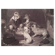 19th C Dog Engraving ~ The Breakfast Party ~ Sir Edwin Landseer