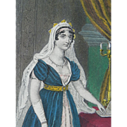 19th Century Hand Colored Steel Engraving ~ Elisa Bonaparte ~ Grand Duchess of Tuscany,