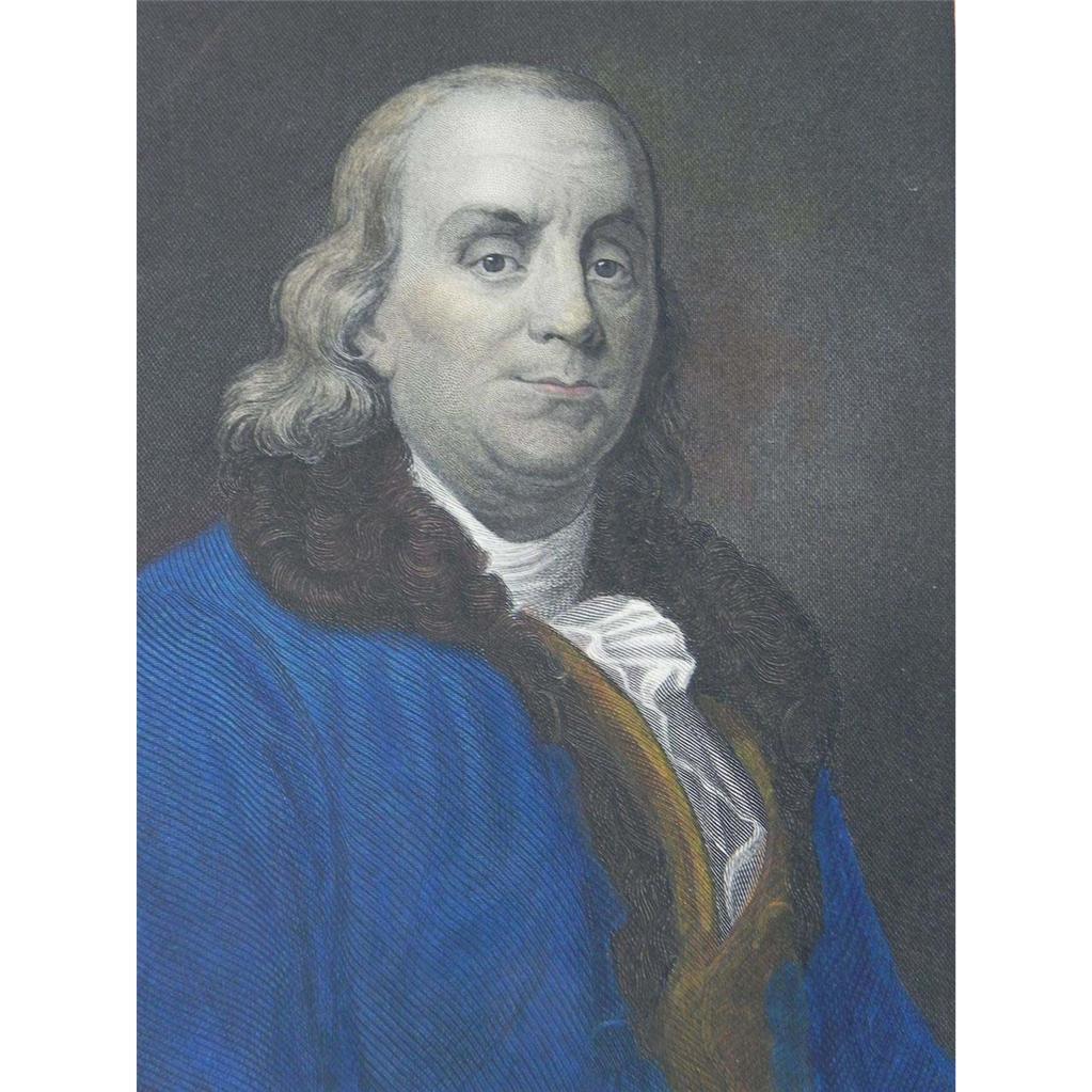 19th Century Hand-Colored Engraving ~ Benjamin Franklin