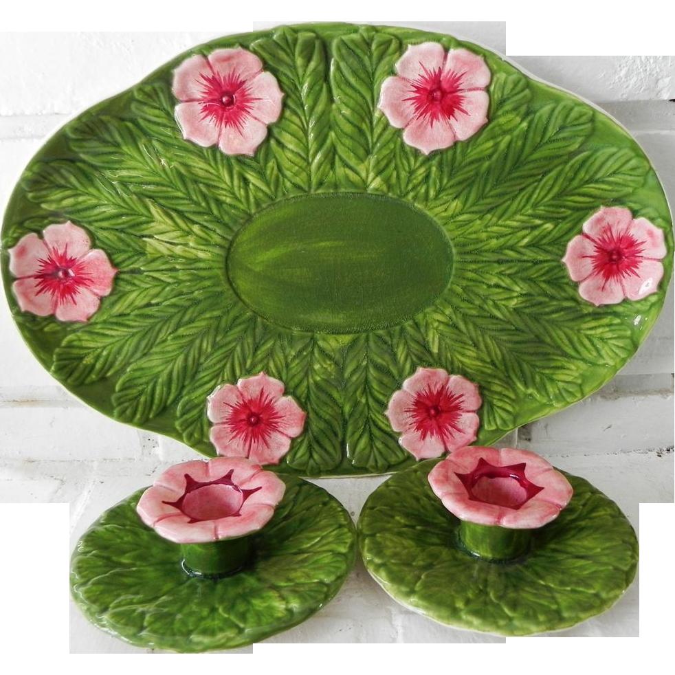 Vintage Wedgwood Pottery Leaf & Flower Dresser Tray & Candlesticks