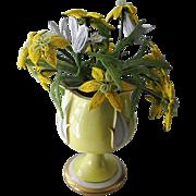 Vintage Beaded Flower Bouquet ~ Agostinelli Porcelain Footed Cache Pot for Bonwit Teller