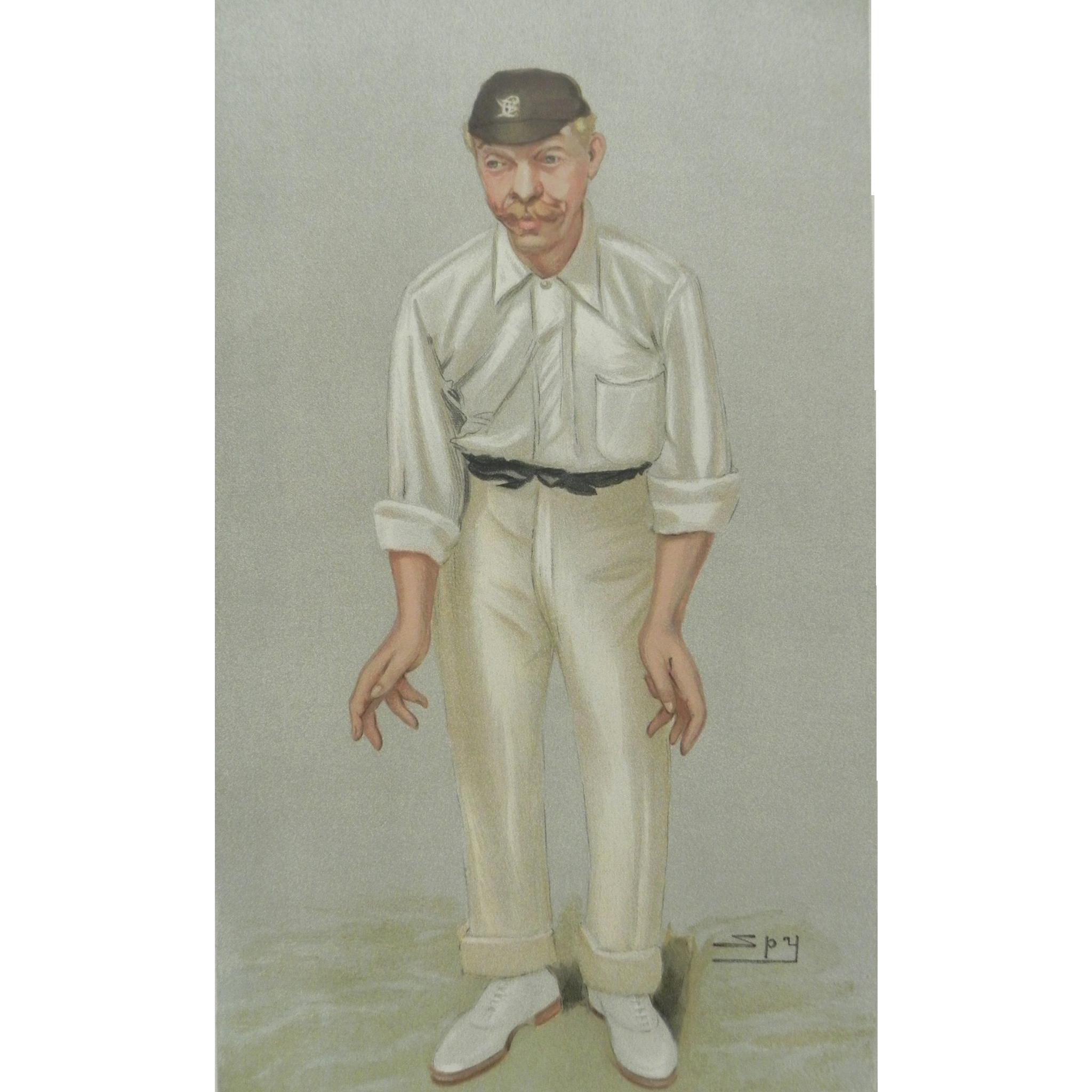 Original Vanity Fair / SPY Print ~Cricketer ~ Robert Abel ~ 1902