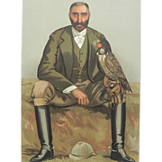 Original 1897 Vanity Fair Print ~ Falconry  /  Game Hunter ~ Gerald Lascelles