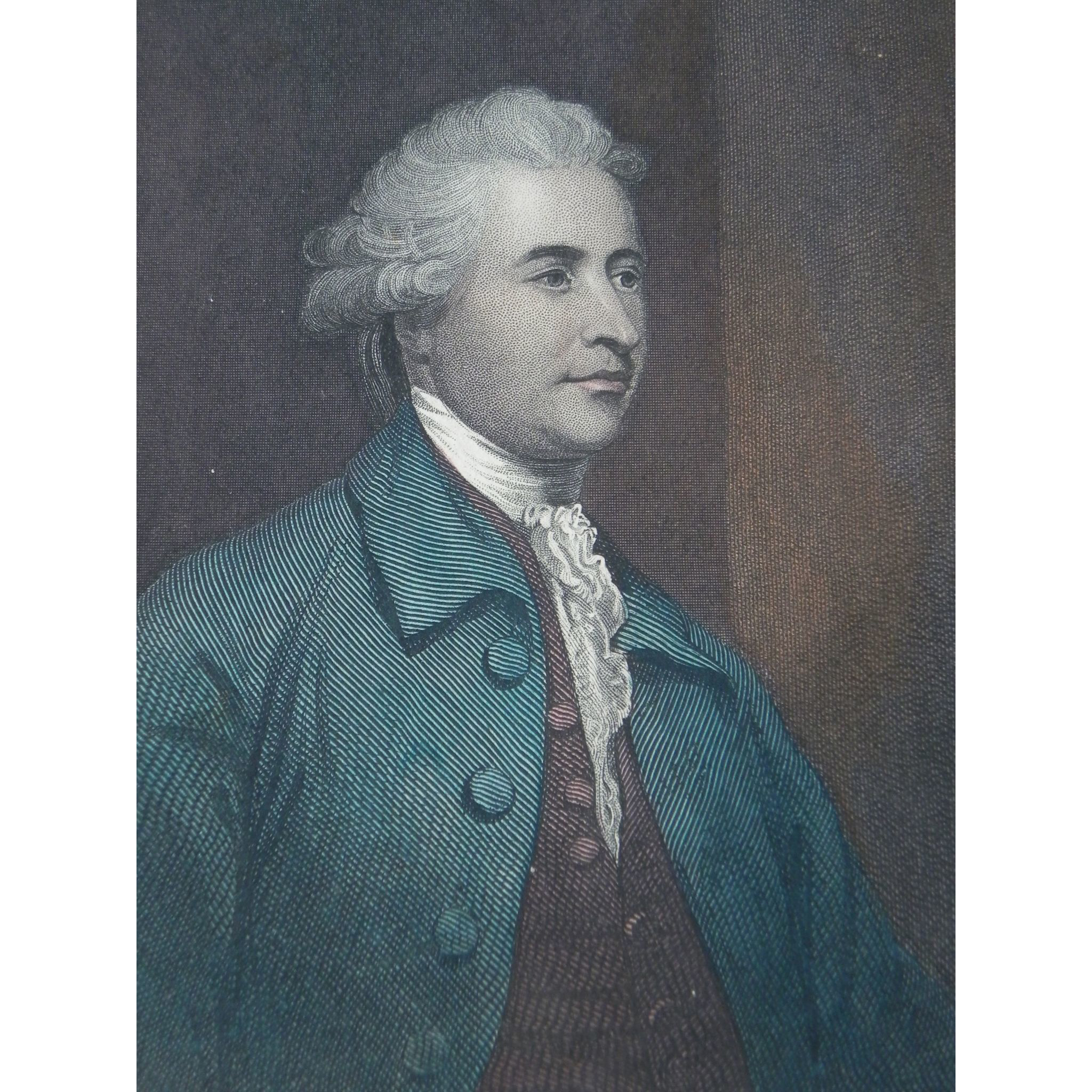 19th Century Hand-Colored Steel Engraving ~ Edmund Burke