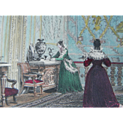 19th Century Hand Colored Steel Engraving ~ The Queen's State Bed-Chamber ~ Fountainbleau