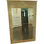 Vintage French Painted Parcel Gilt Trumeau Mirror