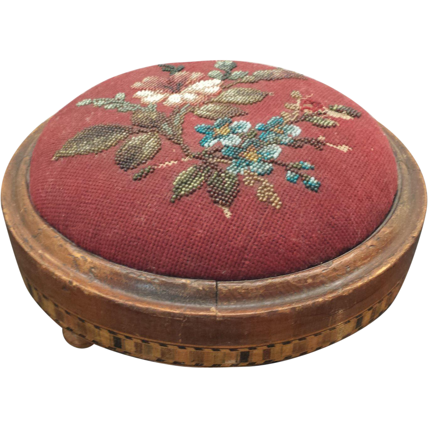 Antique Victorian Tunbridge Ware Beaded Needlepoint Footstool