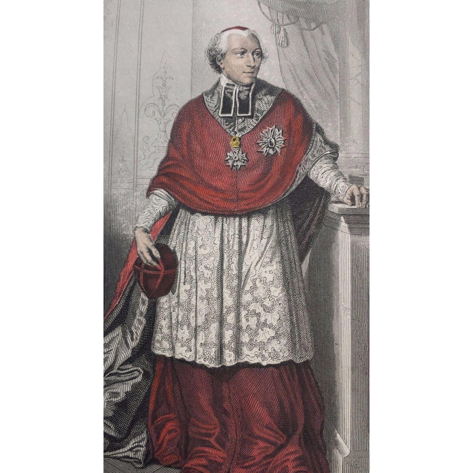 19th Century French Hand Colored Engraving ~ Le Cardinal Joseph Fesch