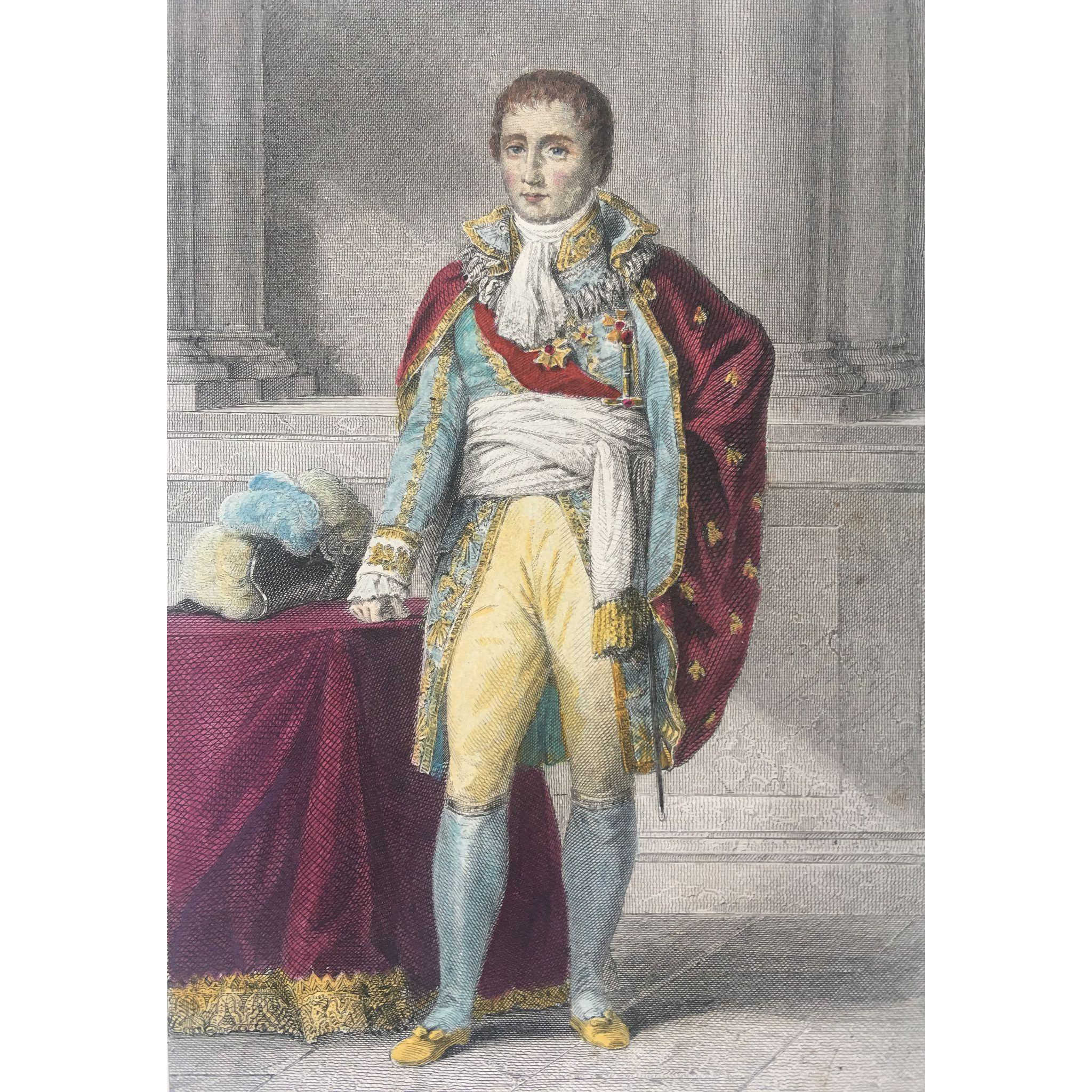 19th Century French Hand Colored Steel Engraving ~ Joseph-Napoléon Bonaparte