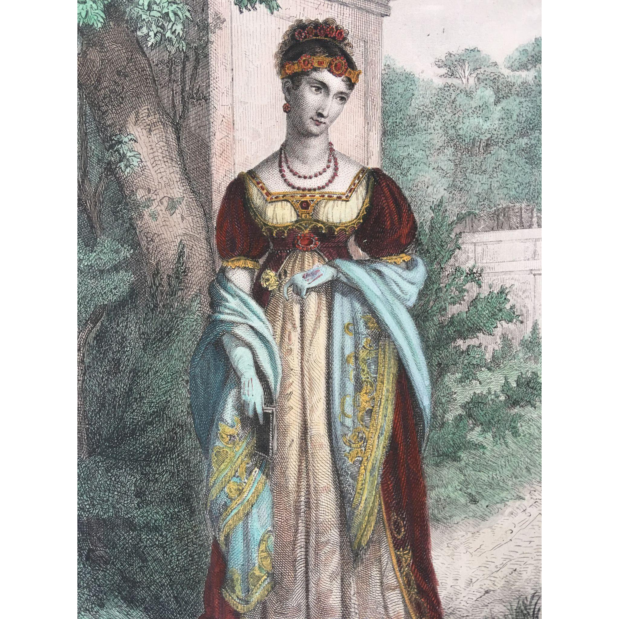 19th Century French Hand-Colored Engraving ~ Pauline Bonaparte