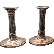 19th Century Old Sheffield Plate Silver on Copper Candlesticks