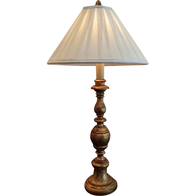 Vintage Italian Gold Leaf Candlestand Lamp