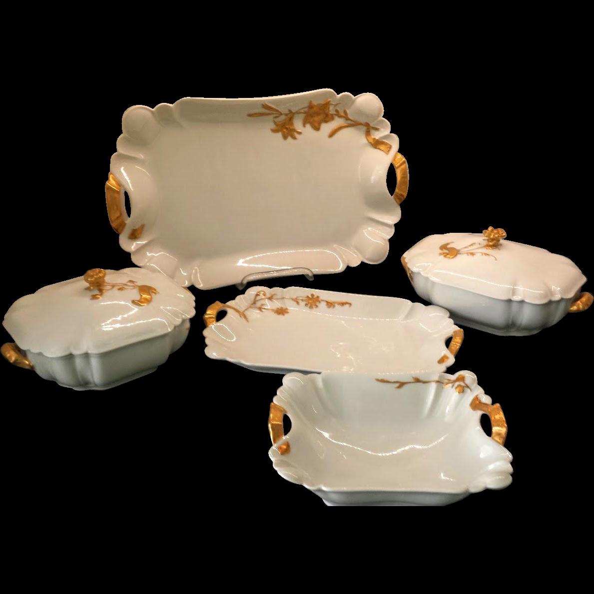 Set Antique Haviland Limoges Schleiger #10-1  / Henri II Gold & White China Service Pieces