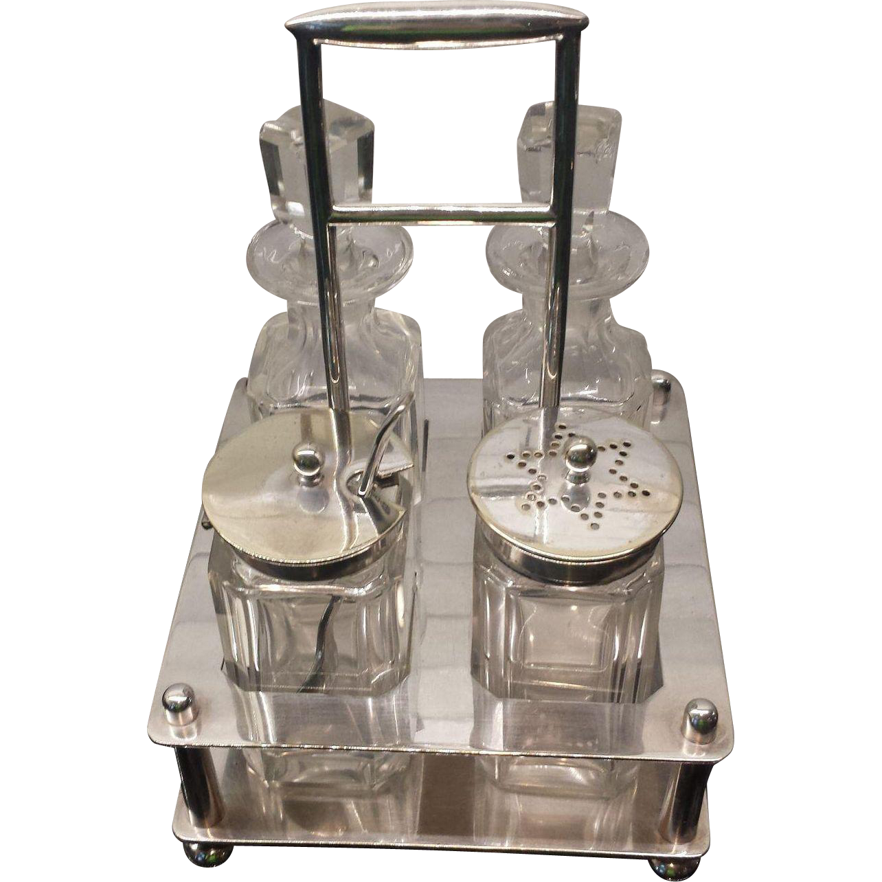 English Cruet Set with Silver Plate Stand -Charles Truman Burrows & Sons ~ Birmingham