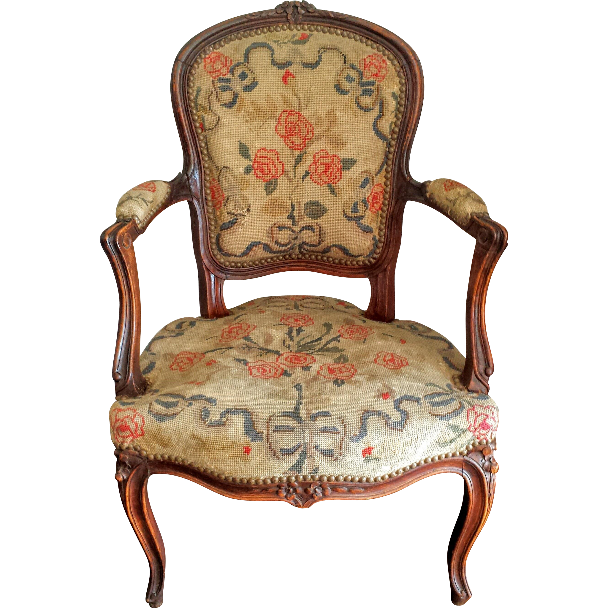 Antique French Louis XV Style Needlepoint Fauteil Chair