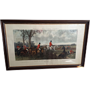 Large Antique Aquatint Fox Hunting Engraving  ~ The Run after John Frederick Herring