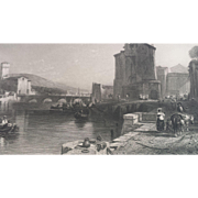 19th Century Livorno Italy Steel Engraving - The Port of Leghorn