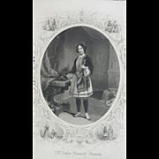19th Century Shakespeare Twelfth Night Engraving ~ Mrs. Julia Bennett Barrow