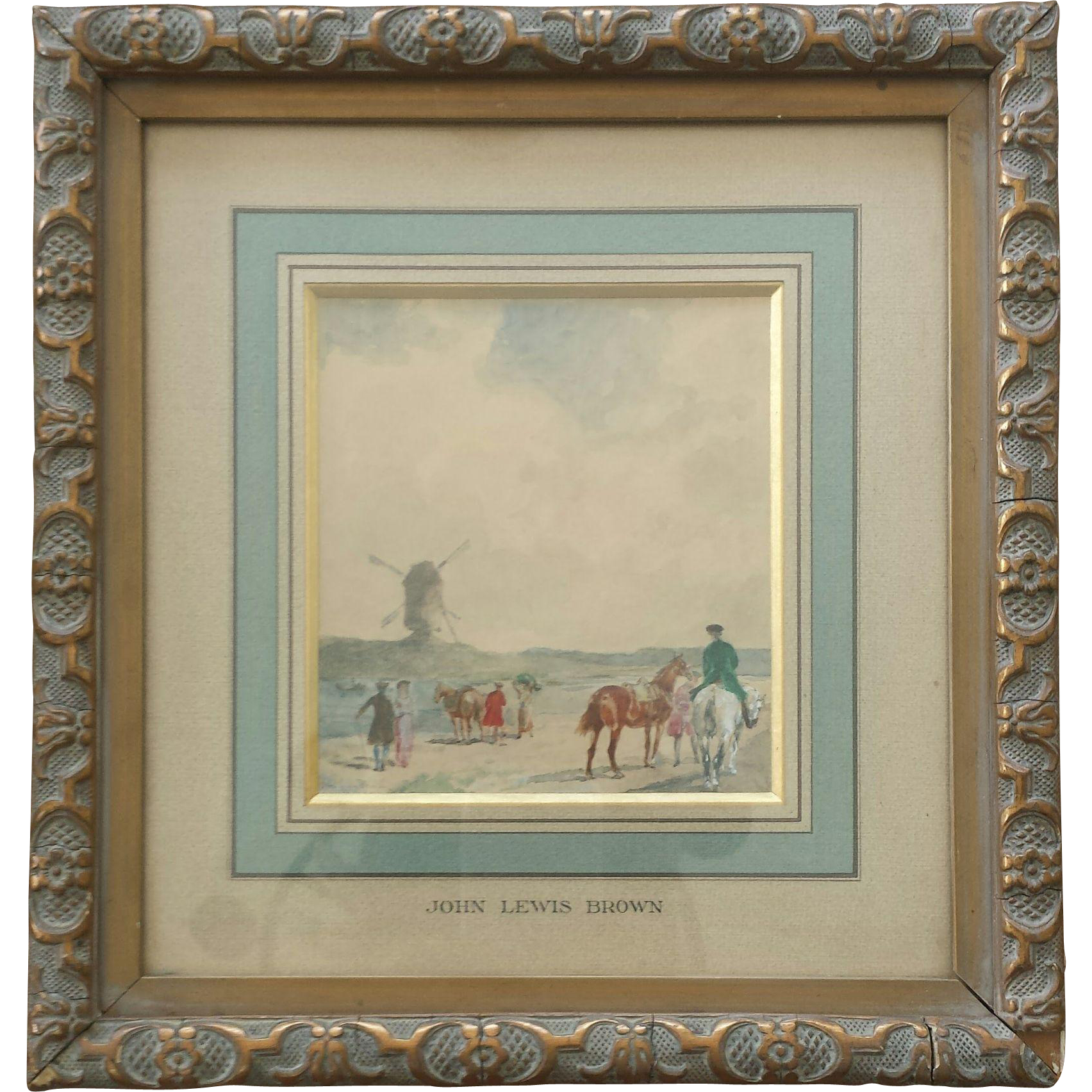 Fine Framed 19th Century French Watercolor Painting by John Lewis Brown (1829-1890)