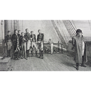 19th Century Steel Engraving Napoleon Bonaparte On Board The Bellerophon