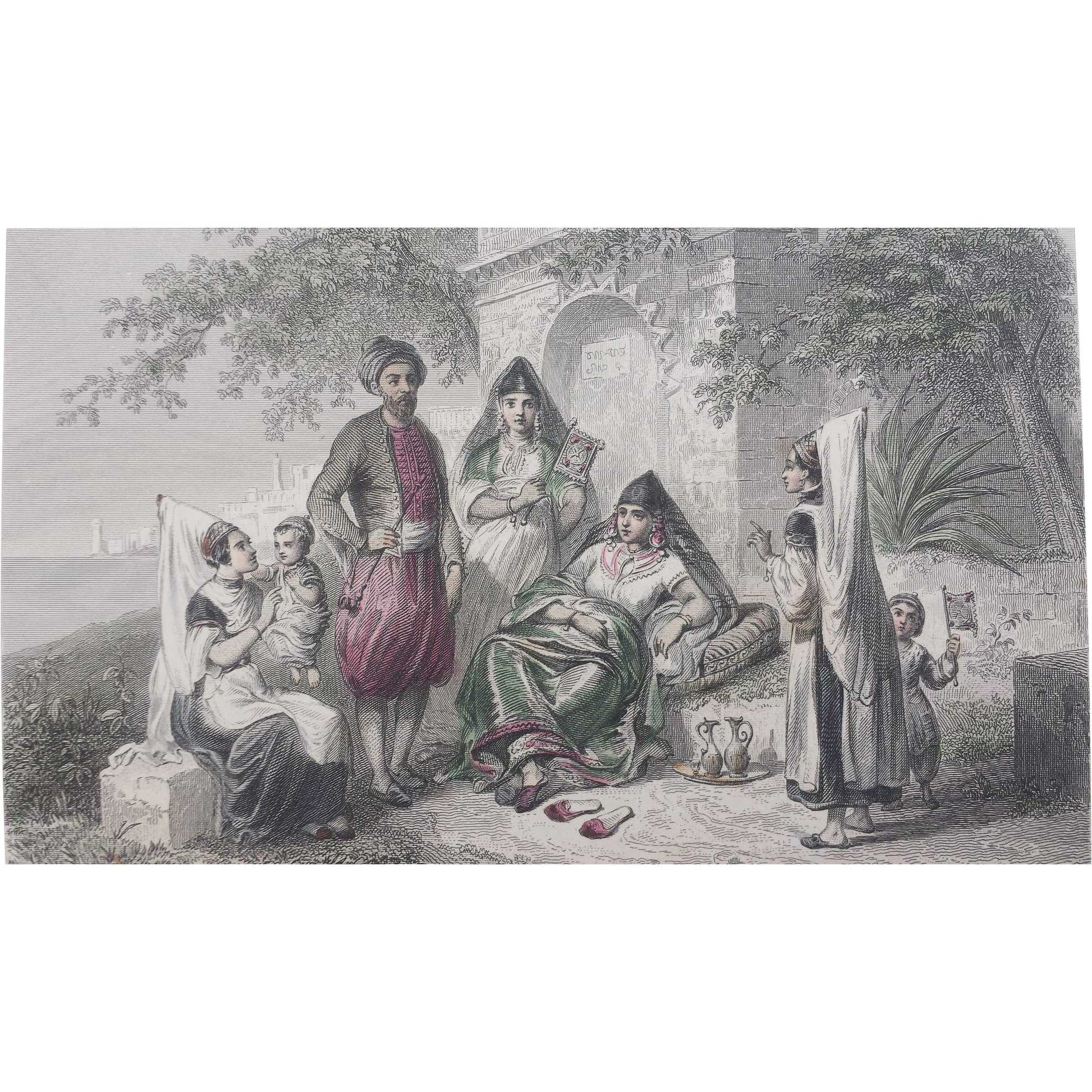 19th Century Steel Engraving / Costume Print - Juifs Tunisiens