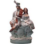 Antique Staffordshire Flat Back Figure of Scottish Clock Couple