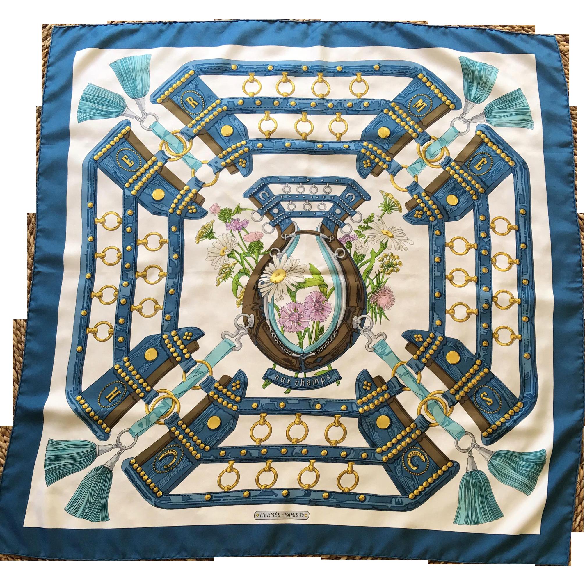 Vintage hermes paris aux champs silk scarf the shop on for Jewelry arts prairie village