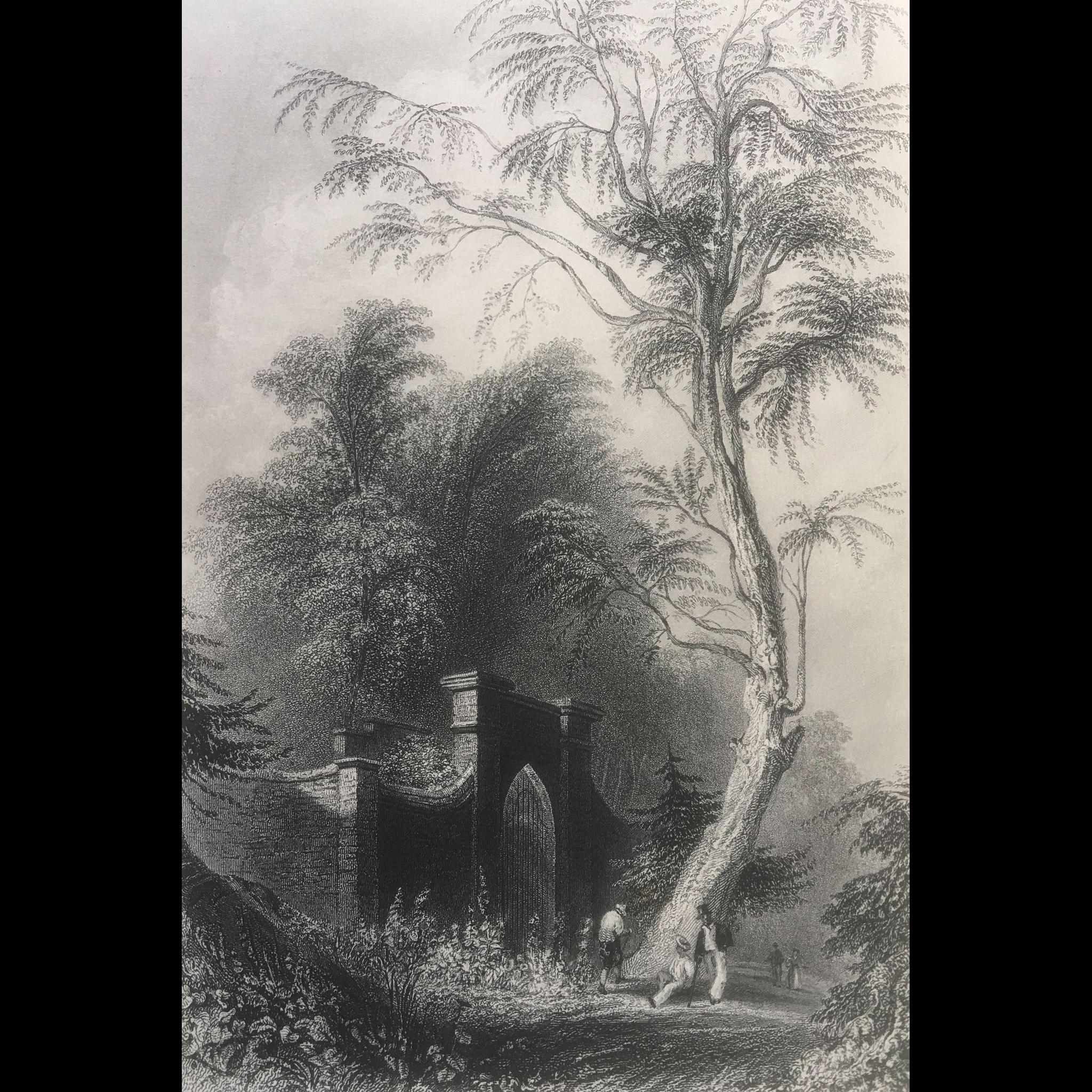 19th Century Engraving - Bartlett's The Tomb of Washington - Mount Vernon