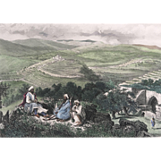 19th Century FENN Hand Colored Engraving View From Neby Samwil PALESTINE
