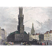 19th Century BARTLETT Hand Colored Steel Engraving - The Great Tower BRUGES