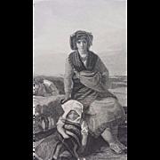 19th-Century-Steel-Engraving  - The Italian Wife