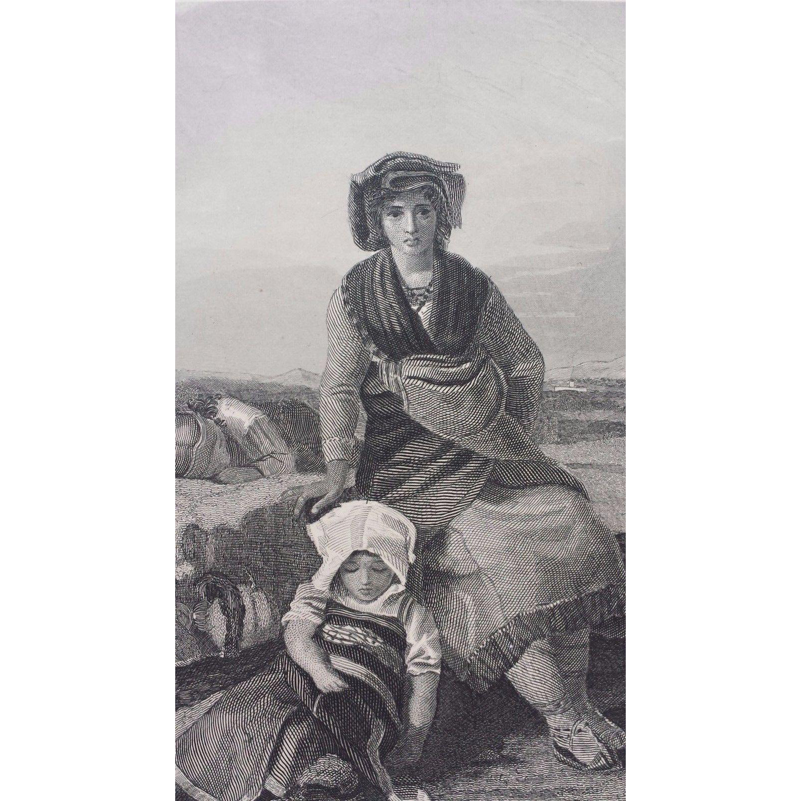 19th-Century-Steel-Engraving  - The Italian Wife