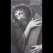 1877 Steel Engraving of Jesus Christ Carrying the Cross - Ecce Homo