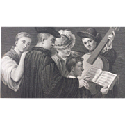 19th Century Steel Engraving - A Music Party