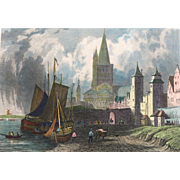19th C Hand Colored Steel Engraving St. Martins Church - Cologne  by Tombleson