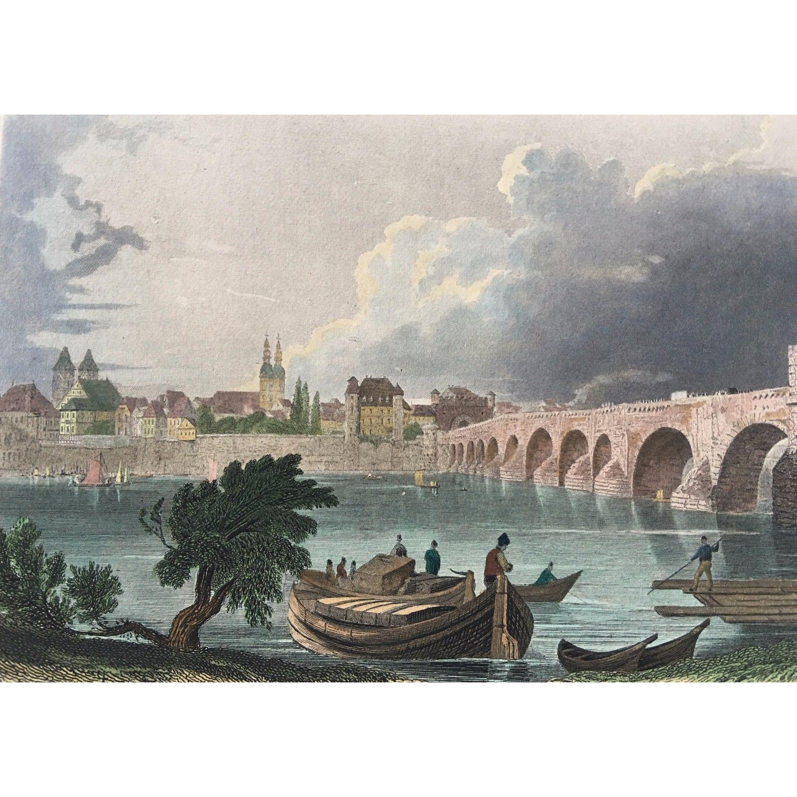 19th C Hand Colored Steel Engraving -View of Coblentz by Tombleson