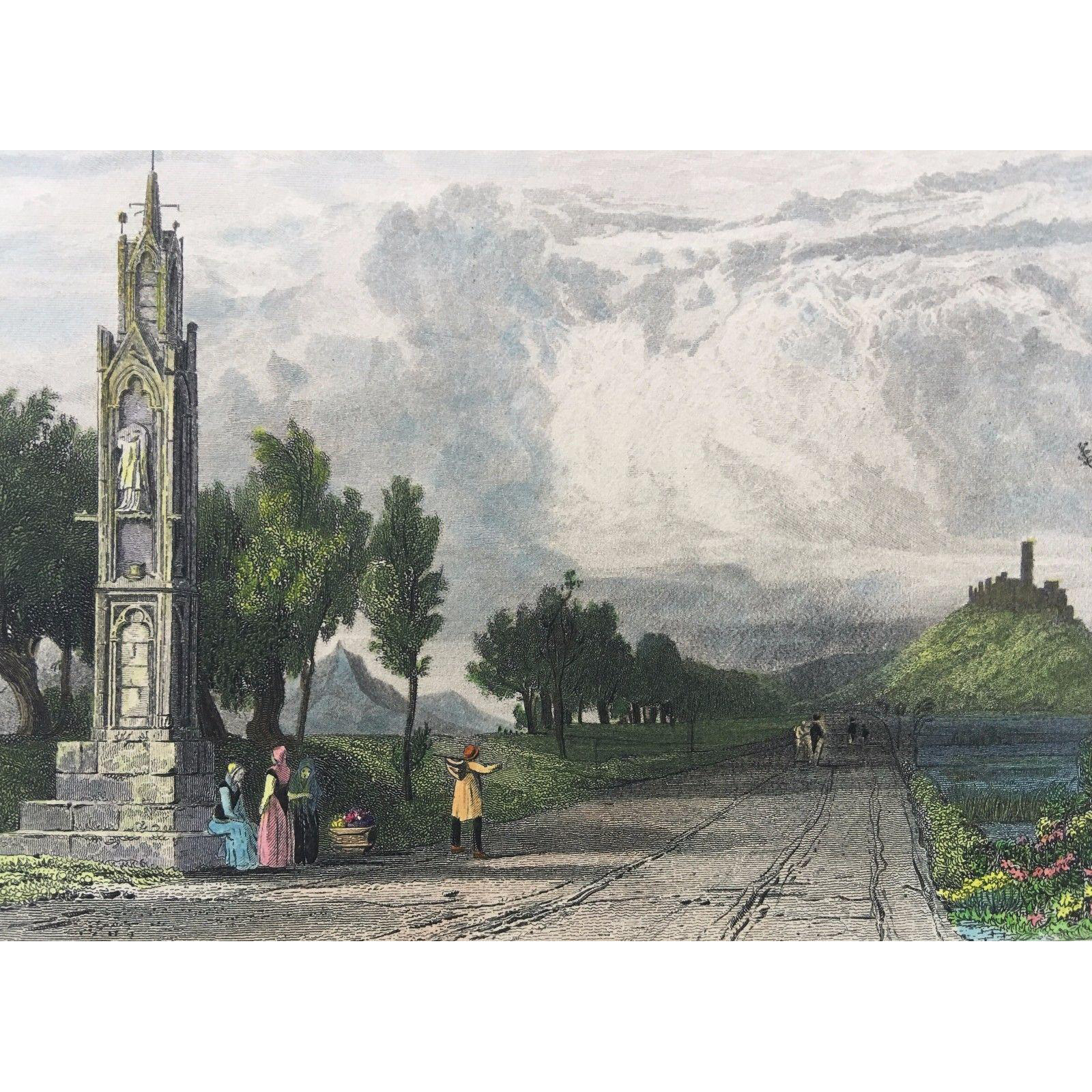 19th C Tombleson Hand Colored Steel Engraving -High Cross Near Bonn