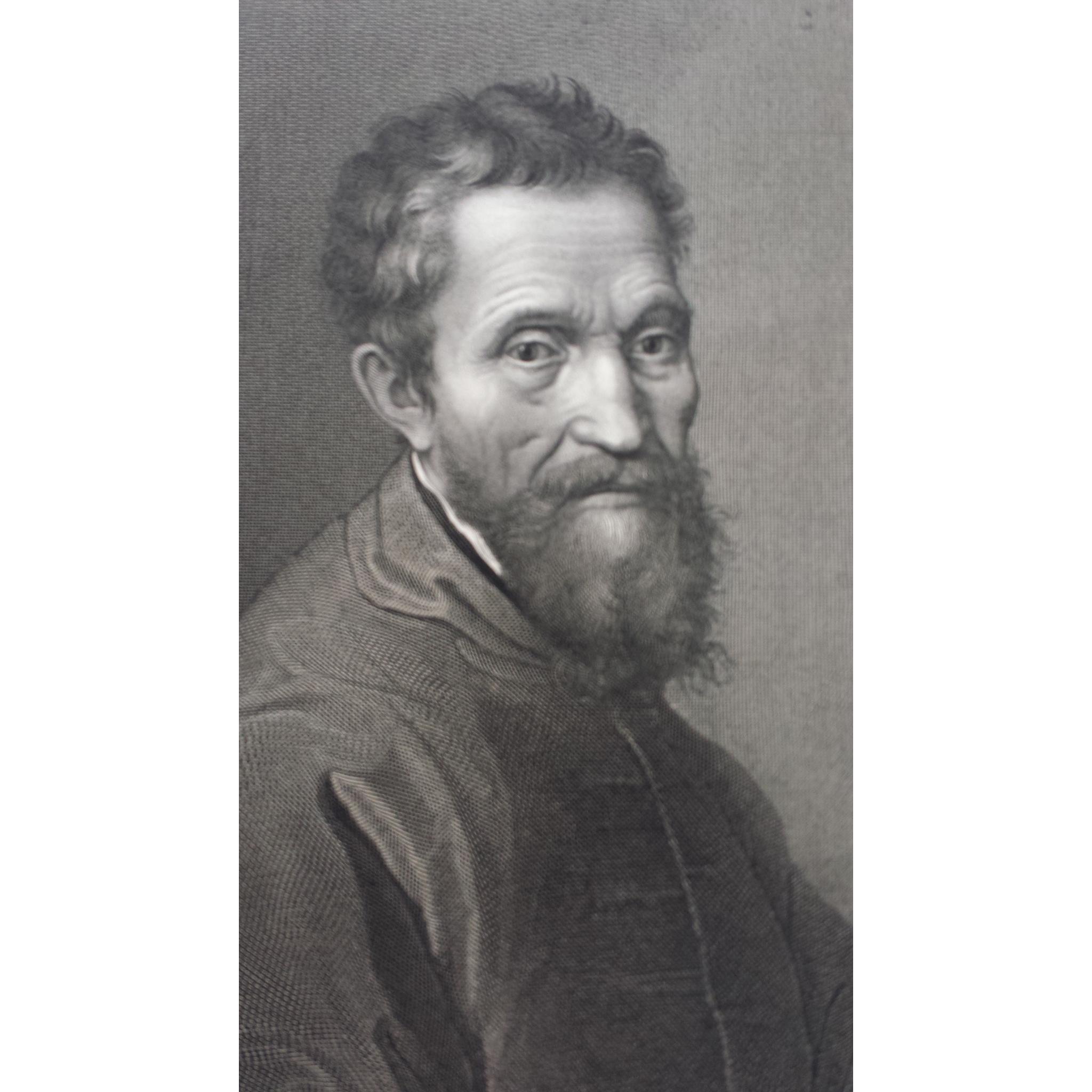 Fine 1875 Michelangelo Self Portrait Steel Engraving