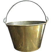 19th Century H.W. Hayden's Ansonia Brass Company Spun Brass Bucket Iron Handle