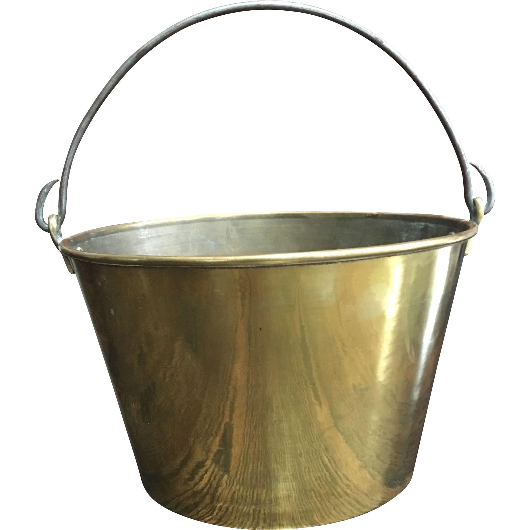 19th Century H.W. Hayden's Ansonia Brass Company Spun Brass Bucket Iron Handle