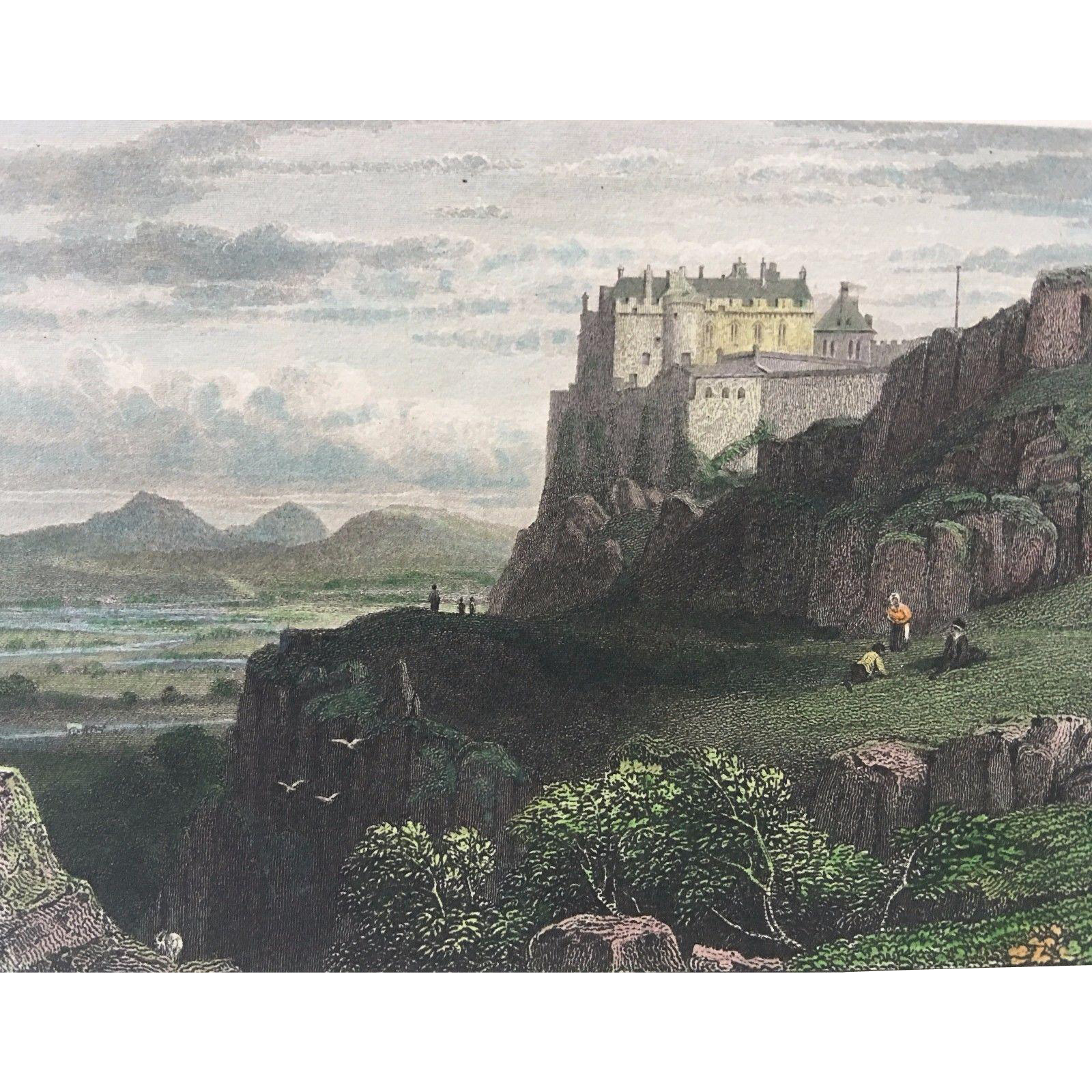 Fine 19th Century Hand Colored SCOTLAND Engraving -  Stirling Castle