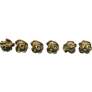 Vintage Set of French Style Cast Brass Rose Drawer / Door Pulls