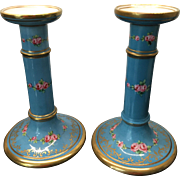 Vintage Pair Crown Staffordshire Hand Painted Candlesticks