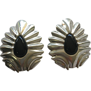 Pair Vintage Taxco Mexico Sterling Silver Onyx Earrings