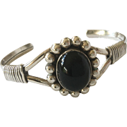 Vintage Taxco Mexico Sterling Silver Onyx Cuff Bracelet