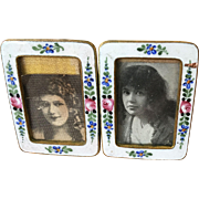 Antique Austria Miniature Enamel Double Picture Frame