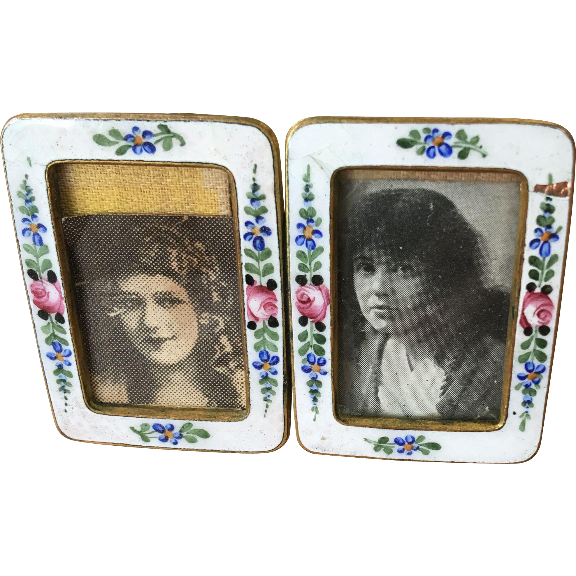Antique Austria Miniature Enamel Double Picture Frame