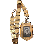 Antique Gold / Gilt Metal Book Chain Watch Fob / Double Sided Locket